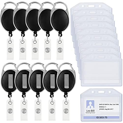 Ausweishalter Jojo(10 Stück), Schwarz, Ausweishülle mit Gürtelclip, horizontal Kartenhalter, Einziehbare Spule und Karabiner
