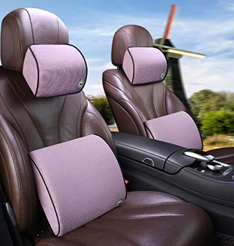 Rugkussen autostoel Rugondersteuning Kussen & auto-nekkussen Kit, Memory Foam met hoge dichtheid Ergonomisch rugkussen voor spierpijn en spanningsverlichting (roze)