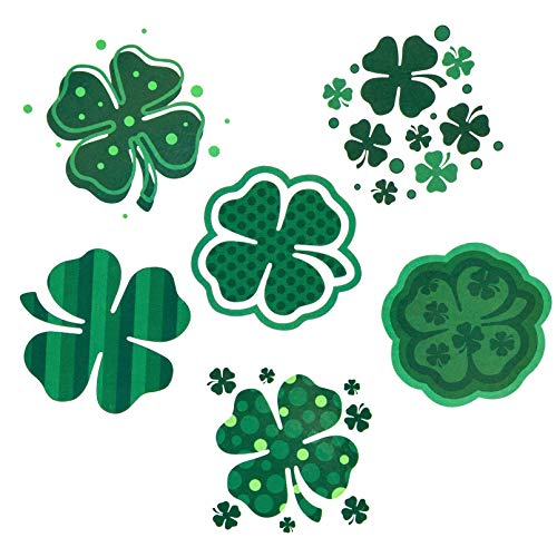 AFSTEE 100+ Pcs Green Temporary Tattoos, Lucky Clover Temporary Tattoos, Amazing Green Toys for Kids Party Favors Accessories