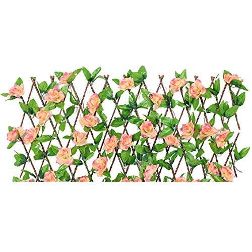 Hojas de flores artificiales retráctiles para valla de jardín, decoración de pared de coberturas