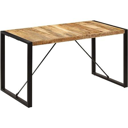 vidaXL Bois de Manguier Massif Table de Salle à Manger Table à Dîner Meuble de Cuisine Table de Repas Mobilier à Dîner Maion Intérieur
