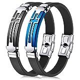 JINGCI Cross Bracelets for Men, Stainless Steel...