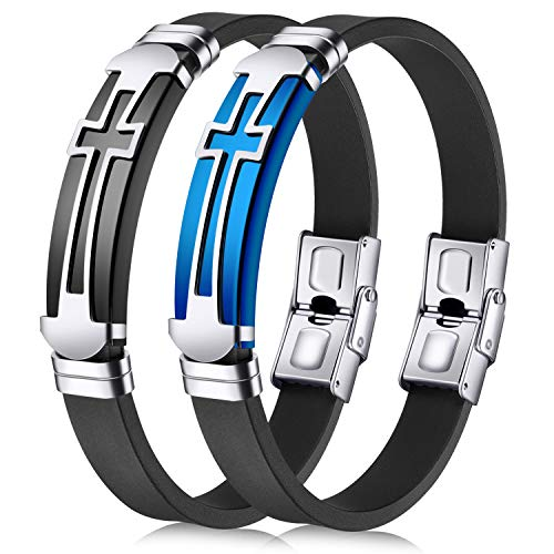 JINGCI Cross Bracelets for Men, Stainless Steel Religious Bracelet with Silicone for Couples Boys Kids and Men(2 PCS)