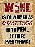ダクトテープが男性にあるようにワインは女性にホームバーパブキッチンガレージレストランホームキッチンハンギングアートワークプラーク壁装飾ヴィンテージサインギフト8X12インチ(20 X 30cm) メタルプレートブリキ 看板 2枚セットアンティークレトロ