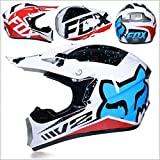 Motocross Off Road Casco Gafas de regalo Máscaras Guantes FOX Motociclismo Racing Casco integral para hombre y mujer (Color : D)