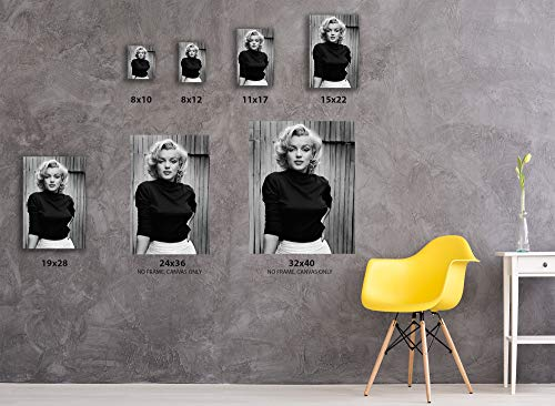 """Marilyn Monroe Canvas Wall Art for Home Décor The Picture Print On Canvas Black and White Art 8"""" x 10"""" Ready to Hang"""