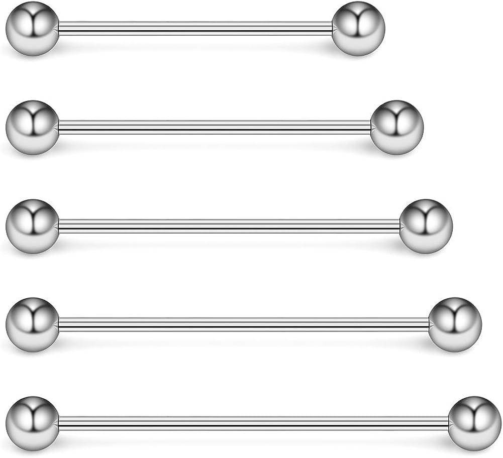Ruifan 5-10PCS 16 Gauge Mix Sizes Industrial Barbell Cartilage Earring Body Piercing Jewelry 28mm 32mm 35mm 38mm 40mm