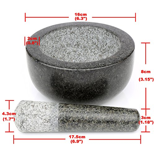 "H&S Pestle and Mortar Set Premium Solid Granite Stone Large Black - 16cm(6.3"") Diameter"