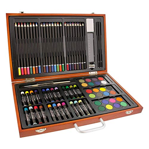 US Art Supply 82 Piece Deluxe Art Creativity Set in Wooden Case with BONUS 20 additional pieces -...