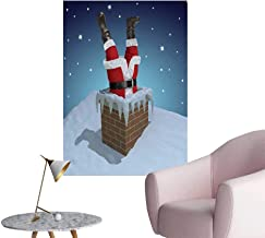 Jaydevn Santa Self Adhesive Wallpaper for Home Bedroom Decor Father Christmas Stuck in The Chimney on Snow Covered Rooftop and Starry Night Sky Fashion Stickers for Wall Multicolor W24 x H36