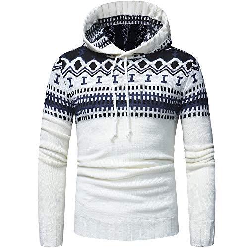 Tefamore-Hommes Automne Hiver Pull Hommes Cardigan en Maille Manteau Chandail à Capuchon Veste Outwear(XL,Blanc)