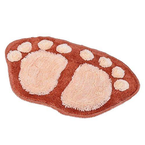 Airblasters Microfiber Lovely Flocking Big Feet Pad Floor Mat Bedroom Area Rug Carpet 58.538.5cm(Brown)