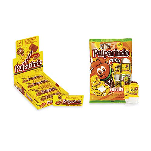 De la Rosa pulparindo 20 pack and Pulparindo Push 12 pack Bundle, tamarind candy (Original)