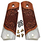 Dan Eagle 1911 Grips Full Size Exotic Solid Rosewood and Simulated White Pearl Fits Government, Commander Scroll Design