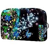 Bolsa de almacenamiento portátil Bolsa de cosméticos Bolsa de maquillaje compacta Bolsa de aseo para mujeres y niñas PU cuero con cremallera bolsa de accesorios Organizador azul mariposa y flor