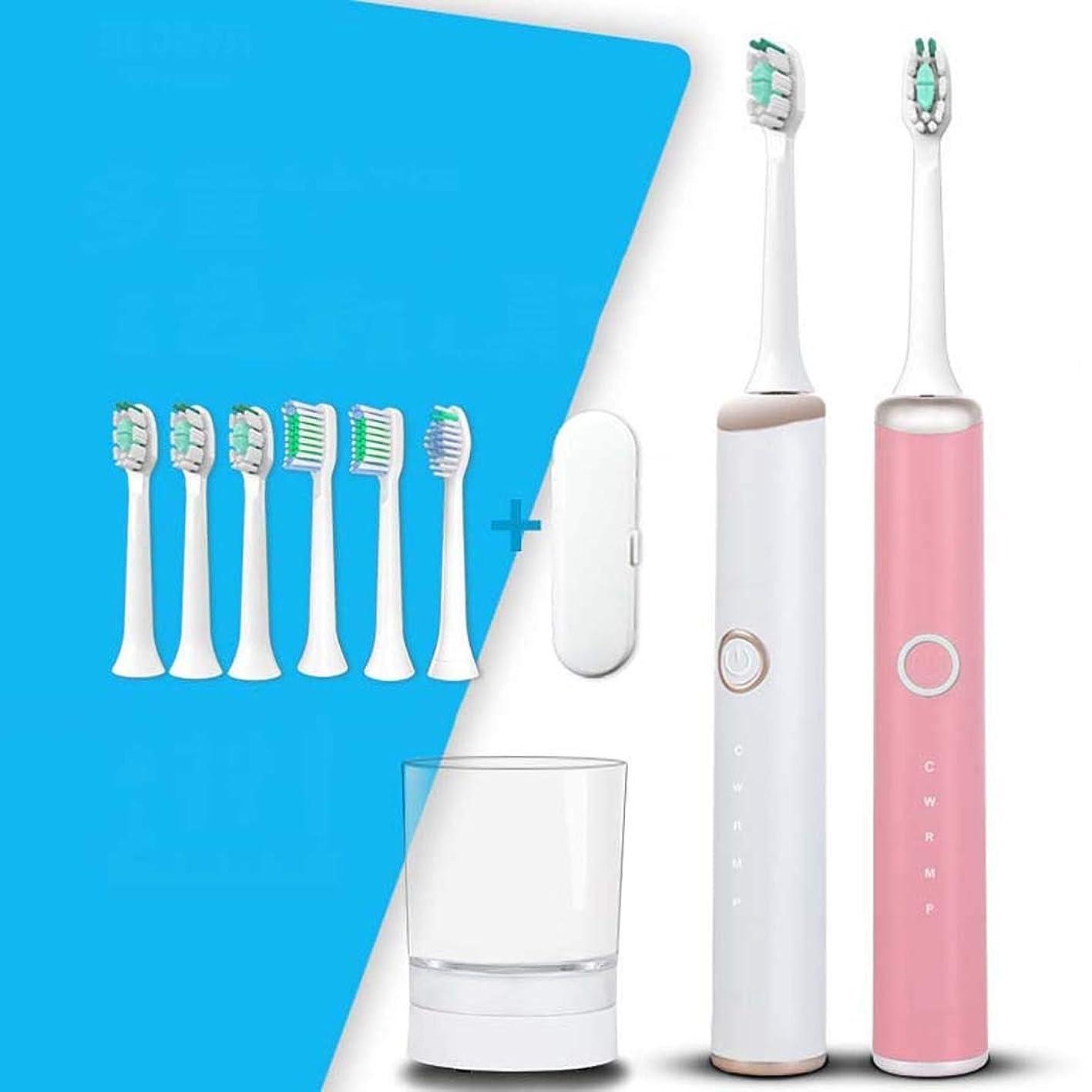 和グロー嫌がらせ電動歯ブラシ、ソニック電動歯ブラシ、家庭用大人用自動歯ブラシ、ミュート防水、スマートワイヤレス誘導充電(カラー:ホワイト)
