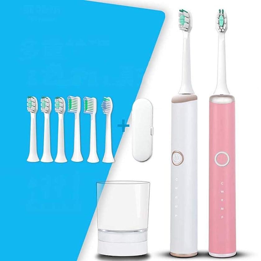 電動歯ブラシ、ソニック電動歯ブラシ、家庭用大人用自動歯ブラシ、ミュート防水、スマートワイヤレス誘導充電(カラー:ホワイト)