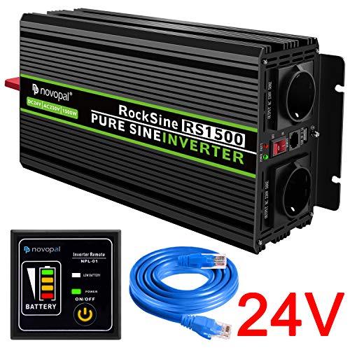 #novopal® Spannungswandler 24V auf 230V 1500W/3000W Reiner Sinus Wechselrichter Konverter mit Zwei AC-steckdosen mit Fernbedienung und 2.4A USB#