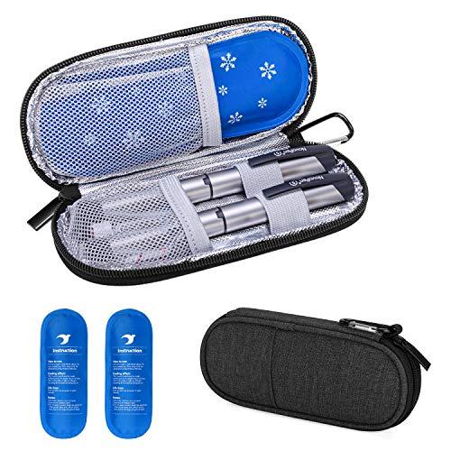 Yarwo Diabetiker Tasche mit Kühlakku für Insulin, Insulin Kühltasche für Zuckerkrank Medikamente, Reisetasche für Insulin Pen, Insulinspritzen, Insulin und Andere Diabetikerzubehör, Schwarz