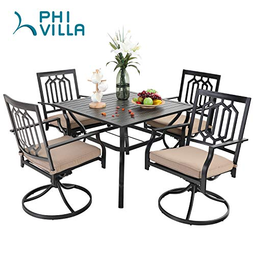 PHI VILLA Patio Dining Set 5 Pieces Outdoor Metal Furniture Set, 4 x Swivel Chairs with 1 Rectangular Umbrella Table for Outdoor Lawn Garden, Black