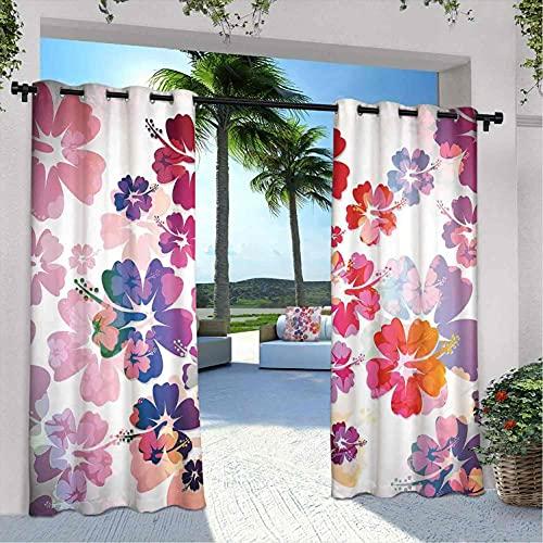 Cortinas hawaianas impermeables con diseño de flores tropicales de Hawai, para dormitorio, sala de estar, porche, pérgola, 120 x 72 pulgadas, morado, rojo y naranja