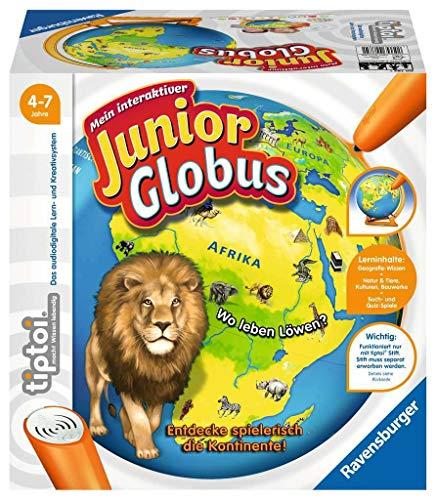 Ravensburger tiptoi Mein interaktiver Junior Globus Spiel, ab 4 Jahren, Entdecke spielerisch die Kontinente
