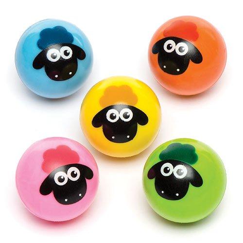 Baker Ross Balles rebondissantes moutons tout doux pour enfant - Parfaits pour les pochettes-surprises et les cadeaux pour enfants (Lot de 6)