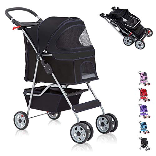 Pet Stroller for Small Medium Dogs & Cats,Folding Dog Stroller Carrier Strolling Cart,4 Wheel Travel Jogger Cat Stroller with Removable Liner,Cup Holders,Weather Cover and Large Storage Basket,Black