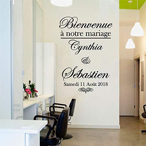 Pegatina mural personalizado tarjeta de bienvenida personalizada decoración florecer en forma de corazón decoración de despedida de soltera 57 * 81 CM