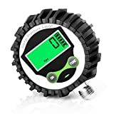 MEANLIN MEASURE 0-200Psi 1/4'' NPT Digital Pressure Gauge with Rubber Protective Cover,Lower Mount,Accuracy 1%,Resolution 0.1psi