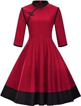 Lowprofile Chinoiserie Dress Women Chinese Vintage Retro Midi Dress 3/4 Sleeve Flare Dress