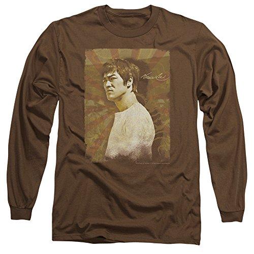 Bruce Lee - La colère des hommes T-shirt à manches longues, X-Large, Coffee