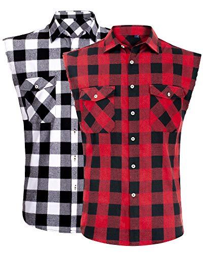 J.VER Camisas de Hombre Camisa a Cuadros Franela Camisas de Vestir Sin Manga Casual Cómodo y Moderno para...