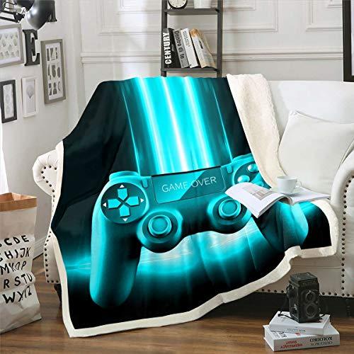 Gamepad - Manta de sherpa para videojuegos, Gamepad, manta de forro polar moderna para sofá cama, controlador de juego, color verde azulado y azul, decoración de habitación individual de 132 x 152 cm