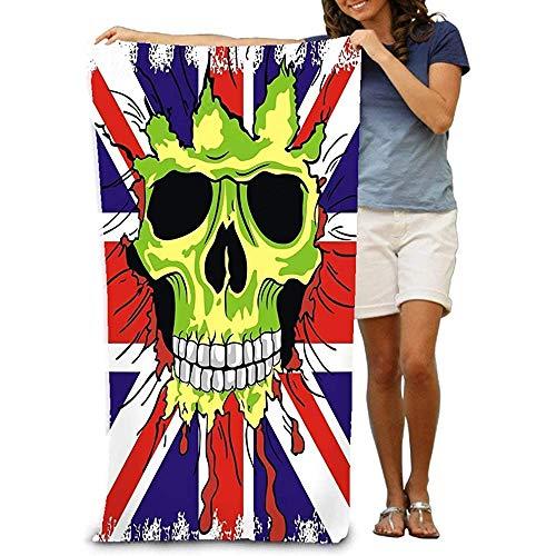 Yocmre Adultos Toalla Playa Inglaterra Bandera Calavera Triste Amarillo