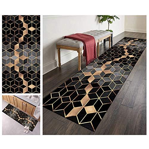 Teppich Läufer Flur 80x300 Grau und Schwarz Waschbare rutschfest Lange Modern Geometrische Muster, Polyester Verblassen Nicht, 3 Farben 25 Größen Erhältlich Anpassbar (Color : Color3)
