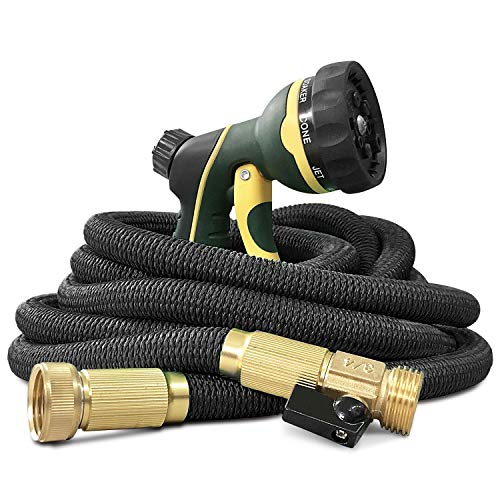 NGreen Garden Hose Flexible and Expandable - Collapsible Water Hose with Solid Brass Fittings and Spray Nozzle, Lightweight Retractable Leakproof Durable Gardening Hose Easy Storage Kink Free(75FT)