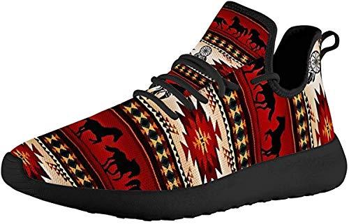 SEANATIVE Go Easy - Zapatillas de correr para mujer, ligeras, de punto, con cordones, malla transpirable, planos, para correr en carretera, color, talla 43.5 EU