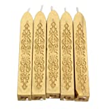 XHTECH 5Pcs Totem Fire Sealing Seal Wax Sticks Wax Sticks with Wicks Cord for Decorative Wedding Invitations Wax Seal Sealing Stamp for Postage Letter Vintage Wax Seal Stamp(Golden)