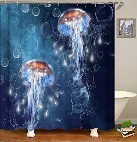 Badezimmer Abdeckung Duschvorhang Mit Ring Polyester Wasserdicht Mehltau Quallen Realistisch 71