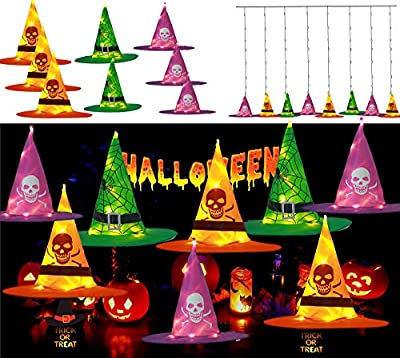 Orange and Purple Witches Hat String Light Halloween Decoration