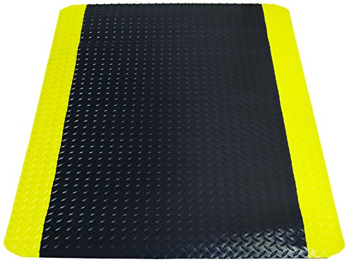 Miltex 12021Tappetino da Yoga Deck, 91x 150cm, Nero con Strisce Laterali Gialle