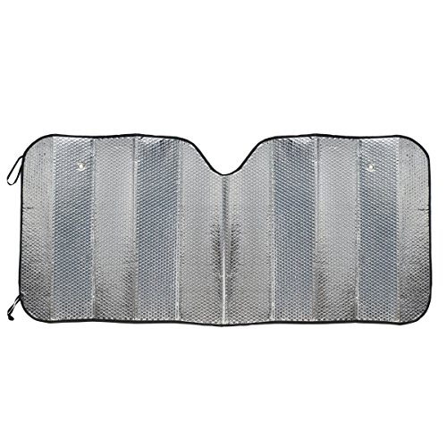 BDK Standard Chrome Double Bubble Folding Accordion Auto Windshield Sun Shade - Blocks UV Rays Sun Visor Protector, Sunshade to Keep Your Vehicle Cool and Damage Free, Easy to Use - 58 x 24 in, AS-215