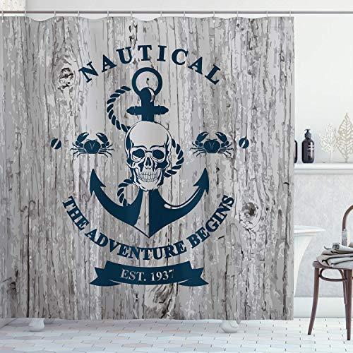 U255uy Anchor Duschvorhang, Kunst mit Anker & Totenkopf-Seil, nautisches Abenteuer beginnt Botschaft, historisch, Stoffstoff, Badezimmer-Dekor-Set mit Haken, B: 180 cm, H: 175 cm, grau / marineblau