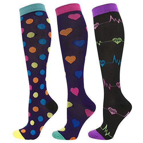 Durio Stützstrümpfe Damen Kniehohe Lustige Lange Socken Herren Bunt Stützkniestrümpfe Damen 3 Paare Punkte und Herzschlag und Bunte Herzen 35-39