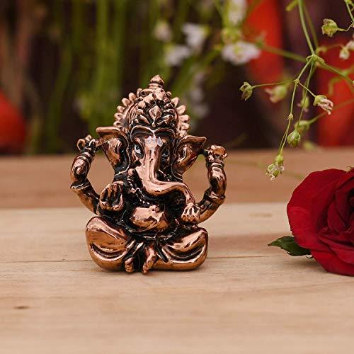 CraftVatika Ganesha Idol Showpiece for Gift Car Dashboard - Lord Ganesh Idol Statue Figurine for Home Office Temple Mandir Decoration - Hindu Ganesh Ganpati Sitting Sculpture for Gifts