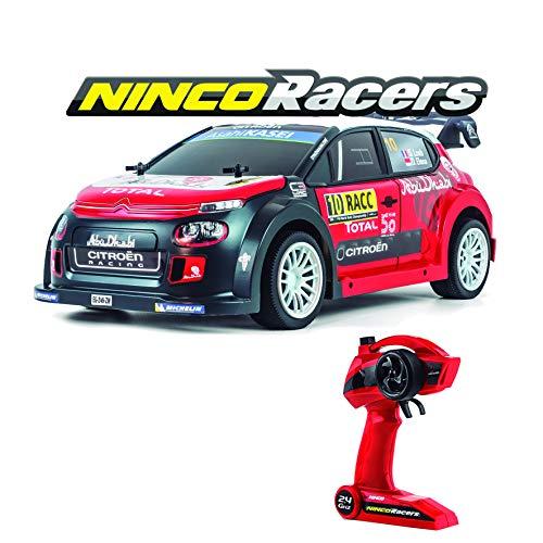 Ninco-NH93150 NincoRacers Citroën C3 WRC Oficial del Campeonato Mundial de Rallyes. Escala 1/10. Coche teledirigido. 2.4GHz Color: Rojo y Negro. Medidas: 42 cm x 13,5 cm x 20 cm, (NH93150)