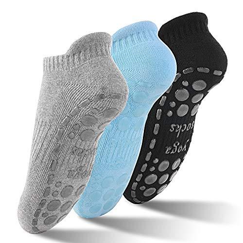 GOAMZ Yoga 3 Pcs Pilates Calcetines Antideslizantes Mujer pour Yoga, Pilates, Ballet,Fitness Antideslizantes(36-41)(Negro + Gris + Azul Claro)