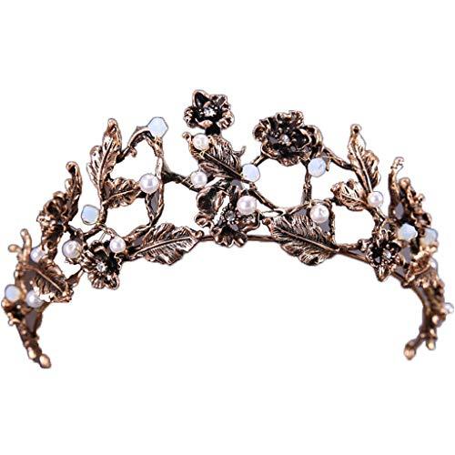 Meen Bridal Crown, Barock Blatt Krone Haarschmuck Brautkleid Bankett Haarschmuck