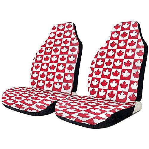 Alice Eva Les couvertures de siège 2Pcs les feuilles blanches rouges est entourée par des couvertures de siège avant pour des couvertures de siège de voitures
